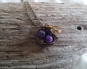 Brass Wire Wrapped Bird Nest Necklace with Purple Beads