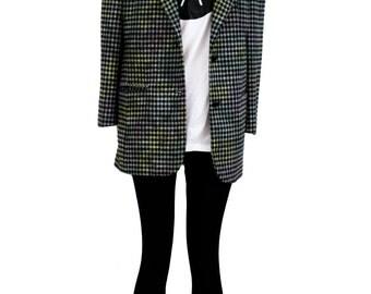 Vintage 1980's  pastel ombre plaid blazer | 80s jacket | 80s blazer