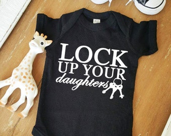 Lock Up Your Daughters Baby Black and White Bodysuit by Simply Chic Baby Boutique