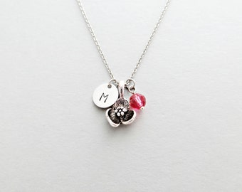 Flower Initial Necklace Personalized Hand Stamped - with Silver Flower Charm and Swarovski