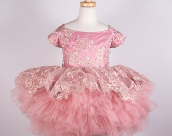 Dusty Rose Girls Lace Tutu Dress | Size 7/8