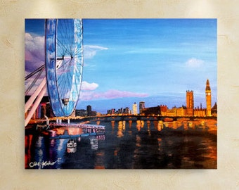Original Millennium Bridge in London England British City Life at Night Original Modern Art by ChantelKeiko 24x30
