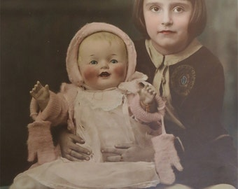Cute 1930's Hand Tinted Little Girl And Her Doll 8 x 10 Photograph - Free Shipping