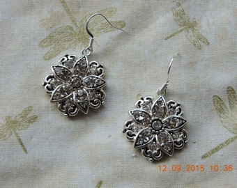 Crystal Flower-Rhinestone-Bling-French Hook-Earrings-Dressy-Gift For Her-Floral-Romantic-Occasion-Formal