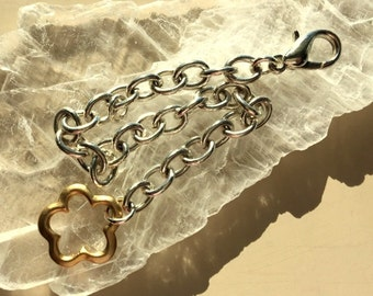 Large Link Bracelet Silver Plated With Gold Plated Focal Clasp  13.13g
