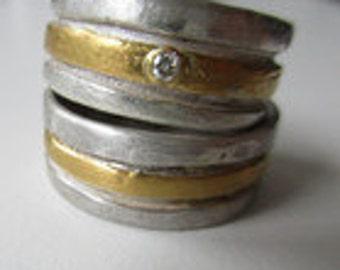 Weddingband bicolor handmade Unique with diamant
