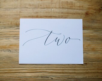 Calligraphy Table Number - Custom + Handwritten for Modern Weddings + Parties