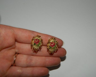 Delicate Small Oval Petit Point Clip On Earrings
