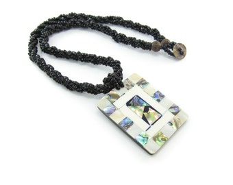 Vintage Abalone Pendant Necklace, Black Glass Seed Beads