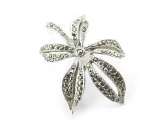 Vintage Marcasite Brooch, Leaf, Silver Tone