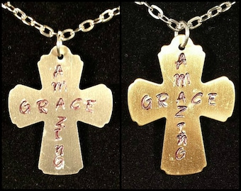 Hand Stamped Cross Pendant or Key Chain