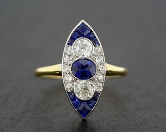 Art Deco Engagement Ring - Antique Art Deco Sapphire & Diamond Engagement Ring - Art Deco Navette Ring