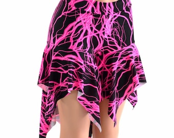 Midrise Pixie Shorts in Neon Pink UV Glow Lightning Print  Flow Hoop Dance Yoga Aerial -152454