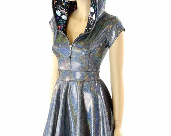 Silver Holographic Hoodie Skater Dress with Cap Sleeves, Unicorn and Rainbow Print Hood Liner & Front Zipper 152263