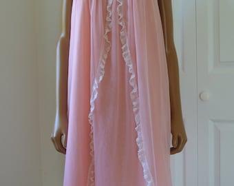 Pink Chiffon Nightgown Bubble Gum Pink Peignoir 1960s Retro Babydoll Nighty/ M
