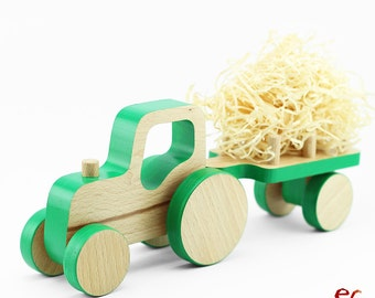 Wooden Push Toy Car – Tractor Birthday - Wooden Tractor with Trailer Toy - Toddler Gift Boy - Pull toy for Toddlers