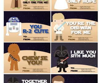 STAR WARS Valentines - Cute Star Wars Valentines - Personalized - Digital