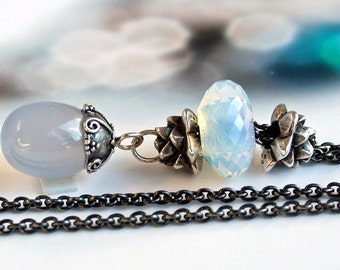 925 Silver Fantasy necklace with a natural blue Chalcedony