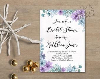 Succulent Bridal Shower Invitation, Floral Bridal Shower Invitation, Boho Bridal Shower Invitation, Purple Bohemian Bridal Shower Invite