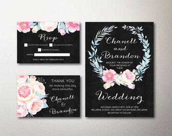 Boho Wedding Invitation, Floral Wedding Invitation, Printable Wedding Invitation, Peony Summer Wedding Invitation, Pink & Mint Wedding