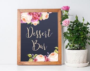 Printable Dessert Bar Sign, Floral Dessert Bar Sign, Navy & Pink Peonies Wedding Table Sign, Wedding Dessert Bar Sign Printable