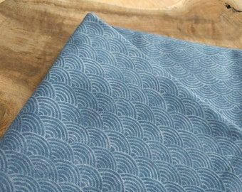 Japanese Waves Fabric, Indigo Blue Ocean Fabric | Block print pattern of ocean waves, Japanese pattern fabric, digital print on cotton.