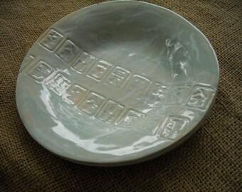 Blue Mahjong Bowl - Mahjong Serving Dish - Oriental Bowl - Mahjong Pottery - Mahjongg Bowl - Mahjong Snacks