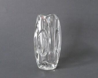 SKLO UNION Lens Vase, Sklo Union Bullet Vase, Sklo Union Clear Glass, Czech Glass Vase, Rosice Glassworks, Rudolf Schrotter, Czechoslovakia
