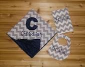 Personalized Minky Baby Blanket and Chevron Bib & Burp Cloth