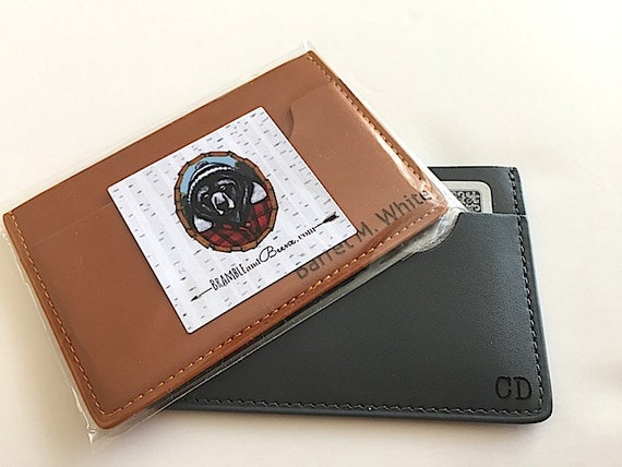 Custom engraved leather business card holder by for Monogrammed leather business card holder