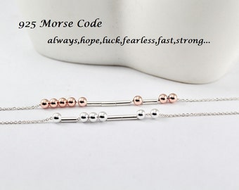 Sterling Silver Morse Code Jewelry,Fast,Strong,Fearless,believe,Brave,Luck, Faith,Strength,Always,Hope,,,Morse Code necklace or Bracelet.