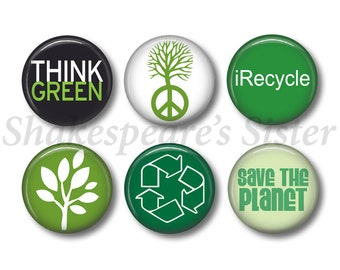 Think Green Magnets - Fridge Magnets - Eco-Friendly - 6 Magnets - 1.5 Inch Magnets - Kitchen Magnets