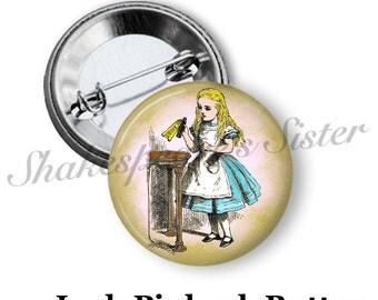 "Alice in Wonderland Pin - Pinback Button - 1.5"" Pinback - Alice Drink Me - Alice Pinback"