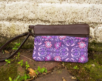 Leather Clutch, Zipped Pouch Wrist Strap, Wristlet Wallet, Leather and Canvas, Phone Wallet, Purple Pink, Plum Wristlet