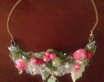Glowing Toadstool fairy ring fantasy magpie burning man statement bib necklace