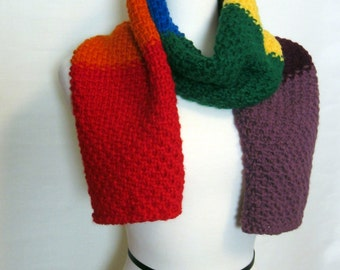 Rainbow Scarf. Hand Knit Wool Free Scarf. Ships Free in the USA