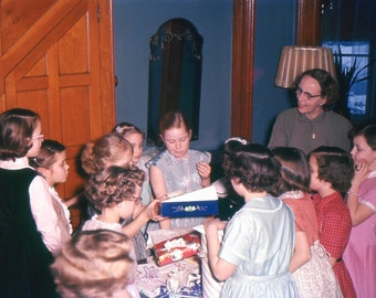 Vintage Red Border Kodachrome Slide..The Birthday Party 1950's, Original 35mm Photo Slide, Vernacular Photo, Modern Social History Photo