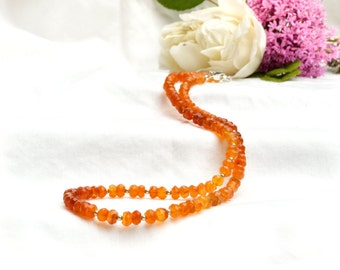 Faceted Natural Carnelian Ombre Necklace with 925 sterling silver *Free worldwide shipping*