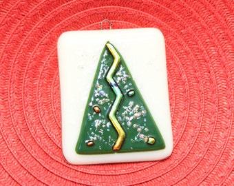 Dichroic Fused Glass Ornament - Christmas Tree Ornament - Fused Glass Christmas Tree - Holiday Ornament