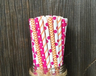 100 Hot Pink and Orange Chevron and Polka Dot Paper Straws- Birthday, Baby Shower, Party Supply