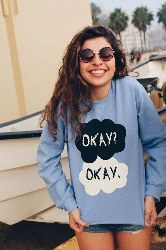 Almost Gone!! - Large - The Fault In Our Stars Okay Okay Blue Fleece Crewneck Sweatshirt