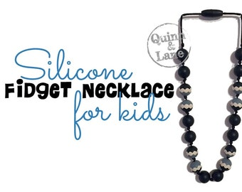 Kids Fidget Necklace - Boys & Girls Children's Jewelry - Silicone Bite Beads Necklace  -  Chew Beads for Child Sensory Autism ADHD - 5925
