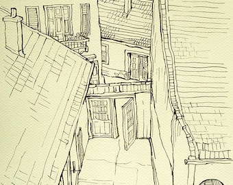 "Houses in Szentendre - Original Handmade Ink Drawing, Black ink on Paper, Size: 8.2"" x 11.7"" (21x29cm, A4)"