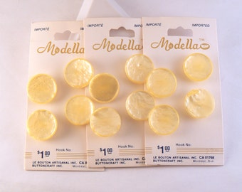 17 mm Plastic Lemon Yellow Vintage Shank Buttons - Pearly Yellow Sewing Buttons - Carded Buttons - Button Card #YS-02-03-S