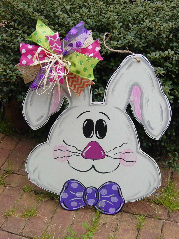 Easter Bunny Rabbit Door Hanger Spring Decor Wood Wreath