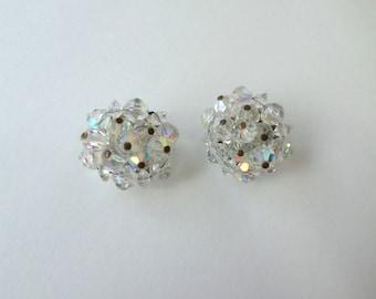 Mid Century Crystal Earrings Aurora Borealis Cluster Earrings Pinned Crystal Silver Clip On Vintage Crystal Bead Beaded Earrings Jewelry