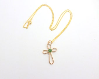 Gold Cross Necklace Jade Pendant Necklace Rose Gold Open Cross  Vintage Jewelry