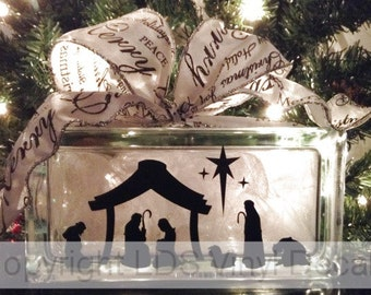 Nativity Scene - Christmas Vinyl Lettering for Glass Blocks - Holiday Craft Decals - Rectangle Block