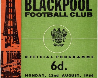 Vintage Football (soccer) Programme - Blackpool v Leicester City, 1966/67 season