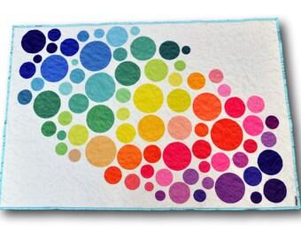 Rainbow Quilt, Modern Quilt, Modern Nursery, Circle Quilt, Rainbow Bedding, Rainbow Nursery, Modern Crib, Pride Quilt, Rainbow Baby